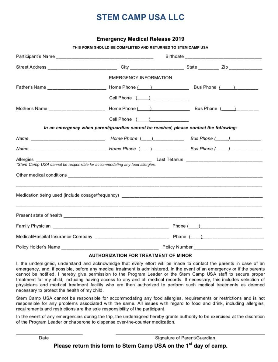 STEM CAMP USA Medical Release Form 2019